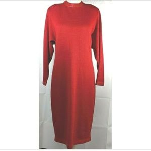 VTG St John Collection Knit Dress Red Small